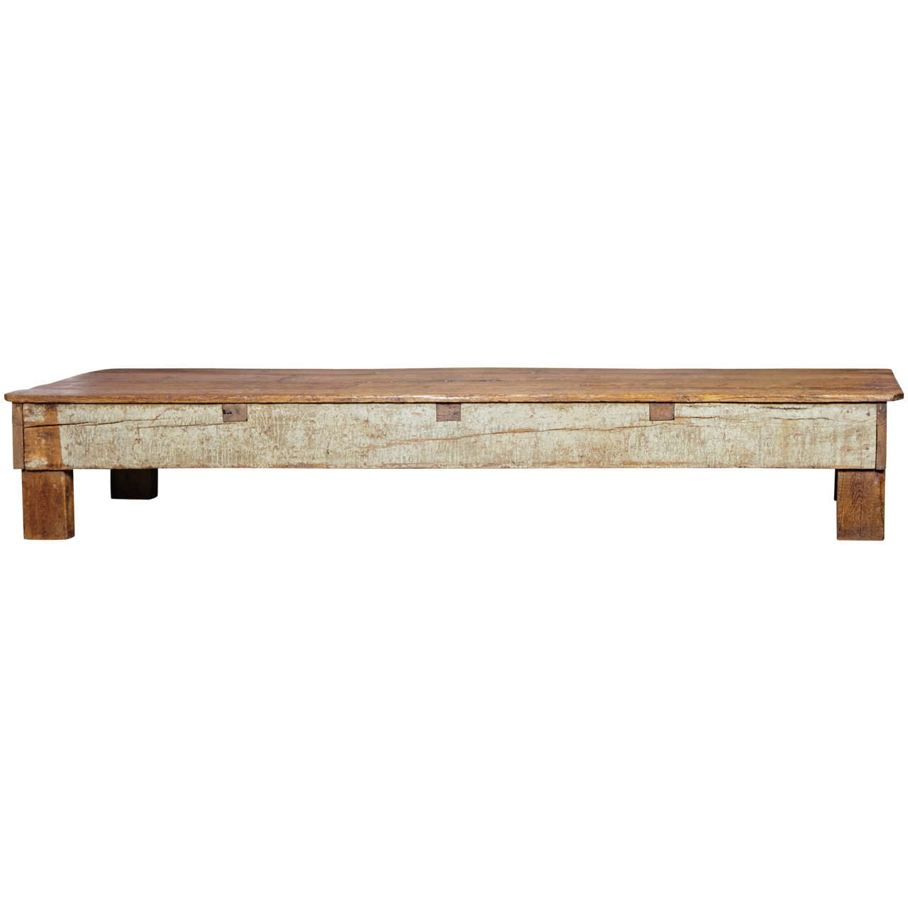 french shop pine bench used for long coffee table or low side