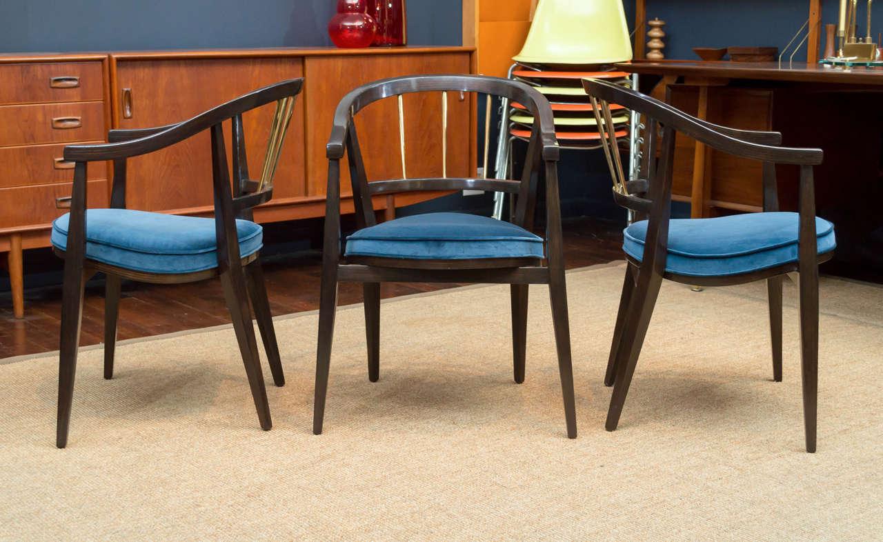 Mid-Century Modern Trio of Dunbar Armchairs For Sale