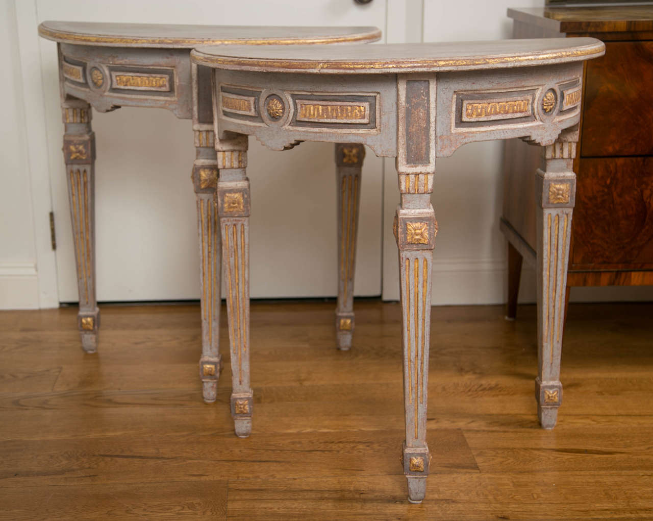 Pair of 18th Century Neoclassical Painted Demilune Consoles or Tables 2