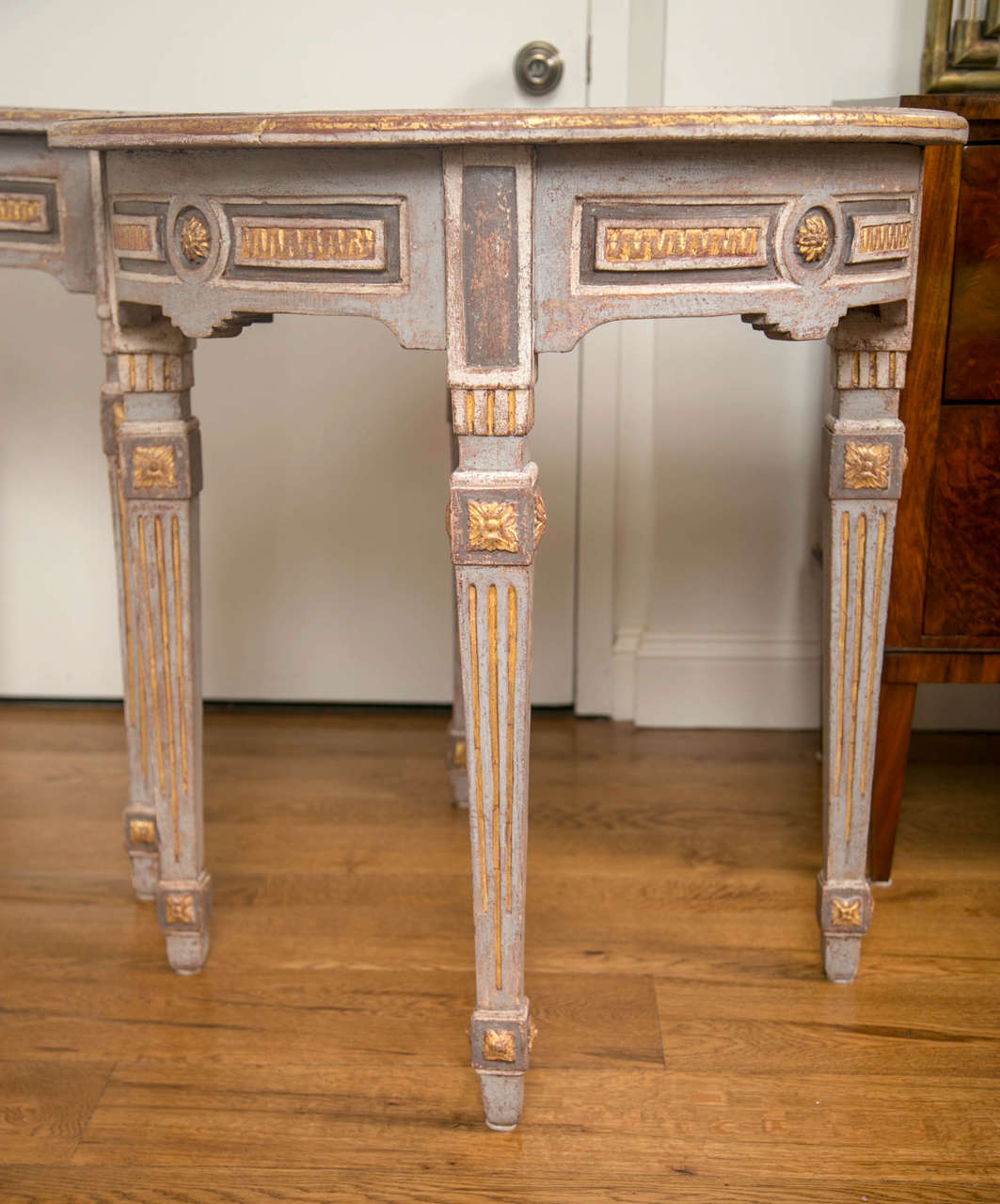 Pair of 18th Century Neoclassical Painted Demilune Consoles or Tables 4