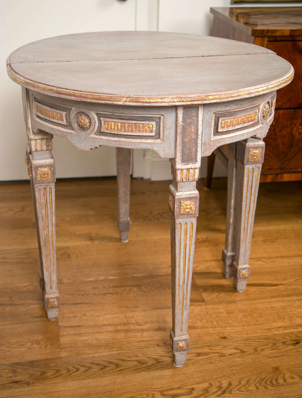 Pair of 18th Century Neoclassical Painted Demilune Consoles or Tables 7