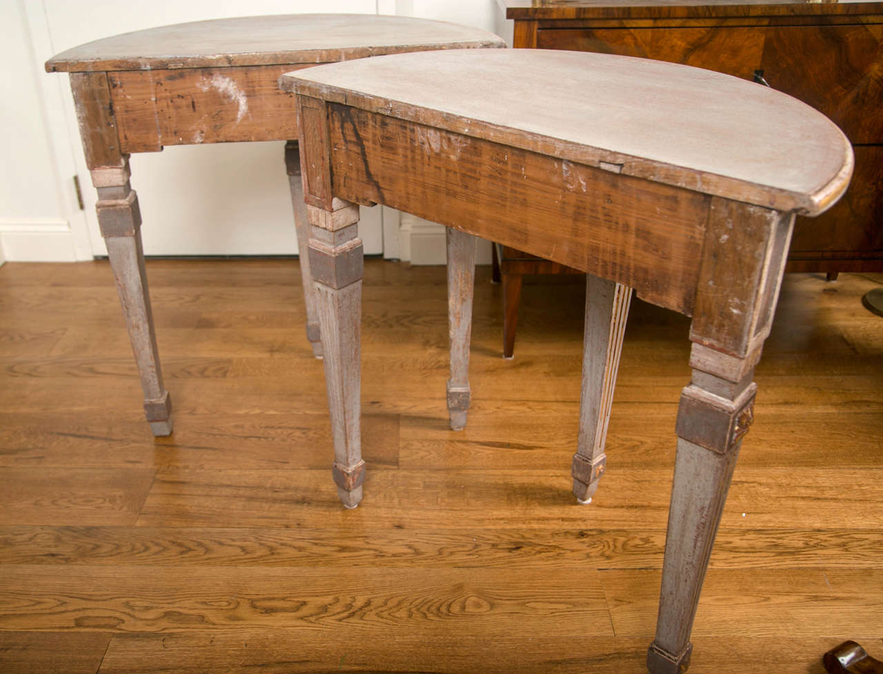 Pair of 18th Century Neoclassical Painted Demilune Consoles or Tables 9