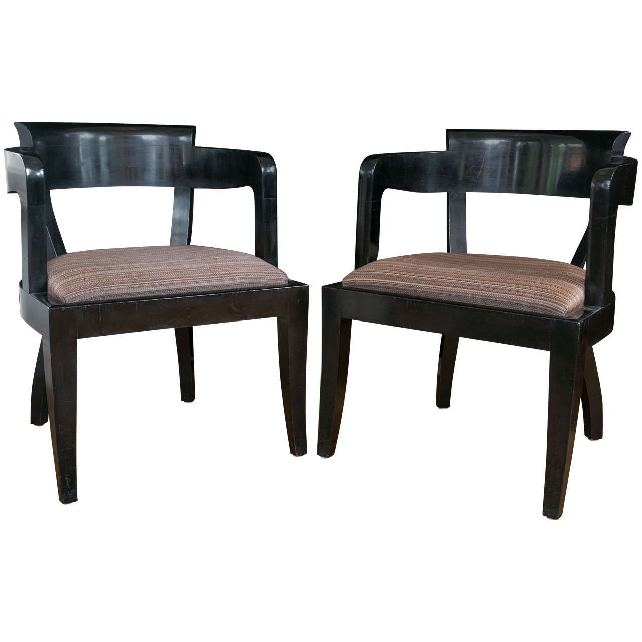 Set of ten modernist black lacquered dining chairs for for Black dining chairs for sale
