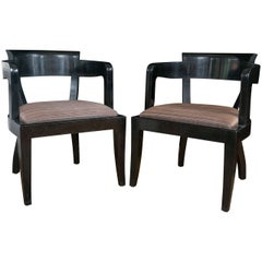 Set of Ten Modernist Black Lacquered Dining Chairs