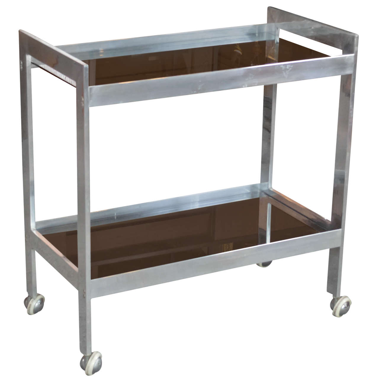 Modern Polished Aluminum Bar Cart At 1stdibs