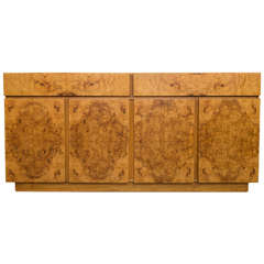 Lane Burl Olive Wood Credenza in Style of Milo Baughman