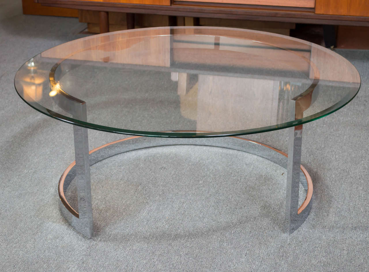 Chrome Bar Round Coffee Table In The Style Of Milo Baughman At 1stdibs