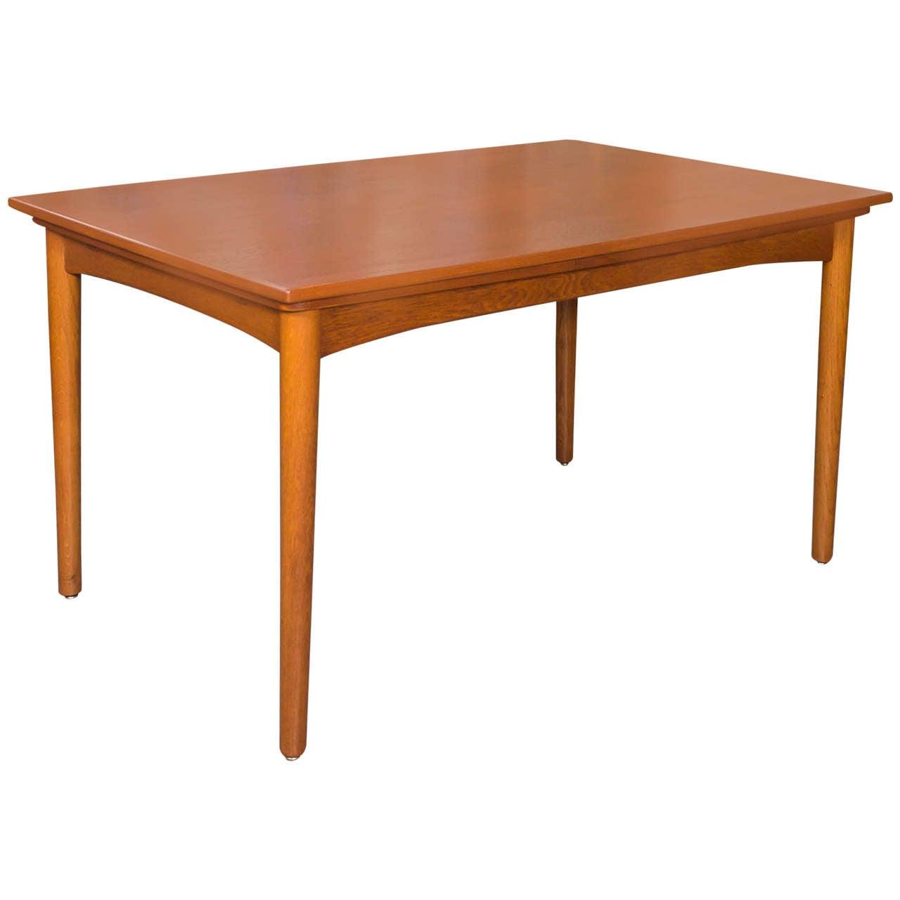 Danish teak dining table by arne hovmand olsen for skovmand and andersen at 1stdibs - Scandinavian teak dining room furniture design ...