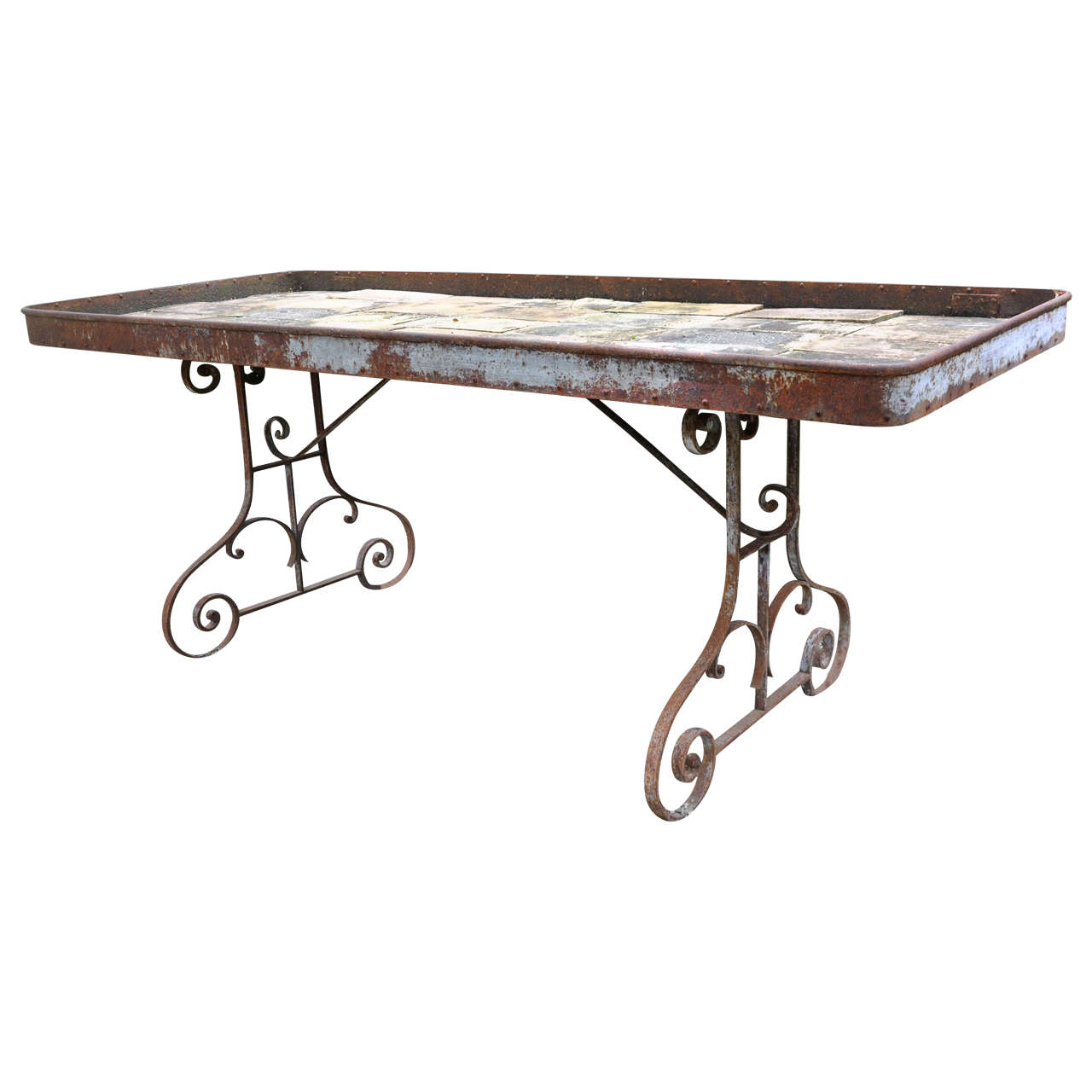Garden wrought iron work table at 1stdibs for Furniture work table