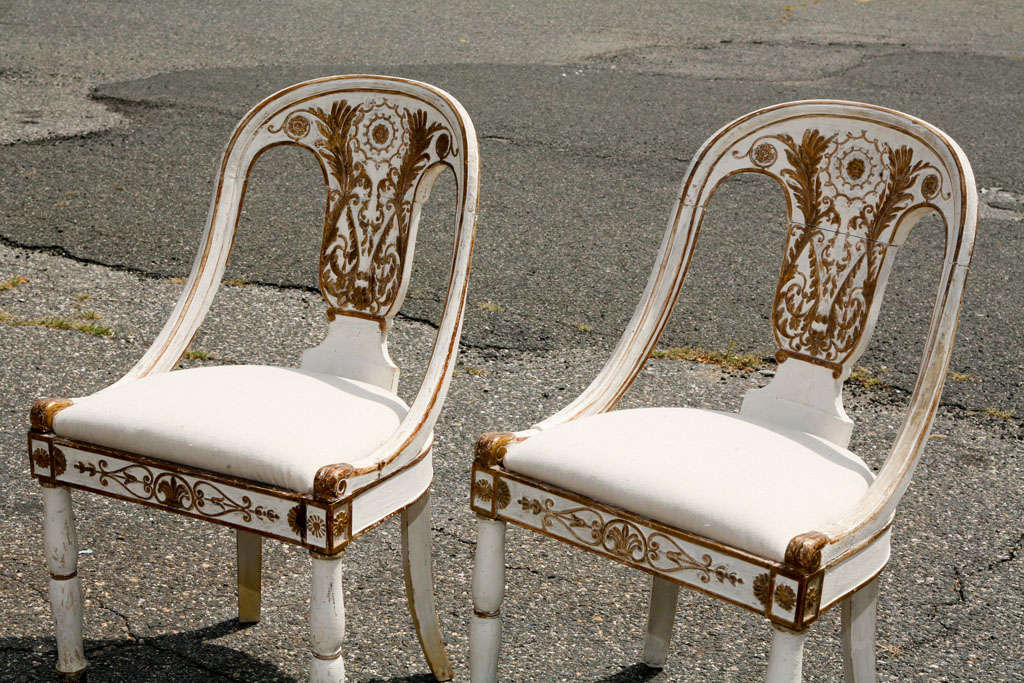This hand painted hepplewhite style chairs is no longer available - Classical Painted Italian Side Chairs At 1stdibs