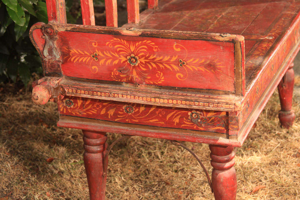 red painted rustic settee at 1stdibs