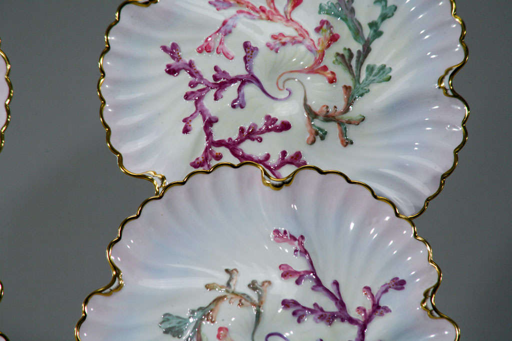 English Set of Six Spode Oyster Plates, Pink, Lavender & Gold-Made for Tiffany's For Sale