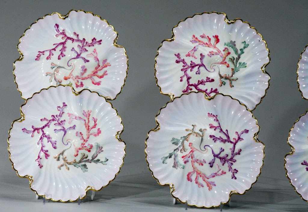 Set of Six Spode Oyster Plates, Pink, Lavender & Gold-Made for Tiffany's In Excellent Condition For Sale In Great Barrington, MA