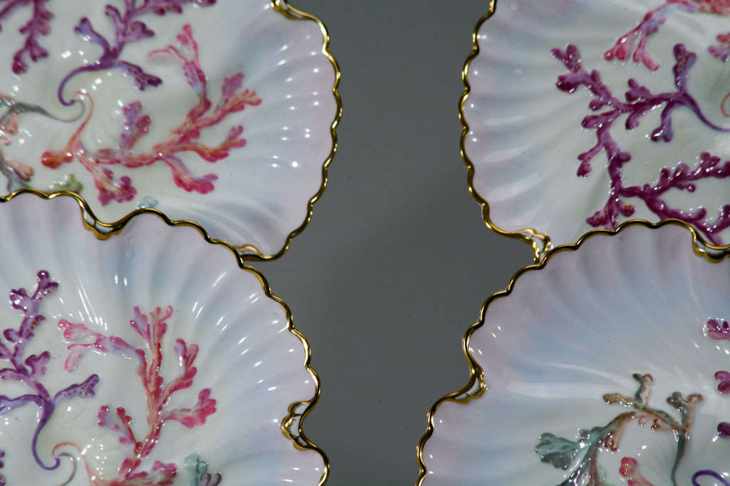 19th Century Set of Six Spode Oyster Plates, Pink, Lavender & Gold-Made for Tiffany's For Sale