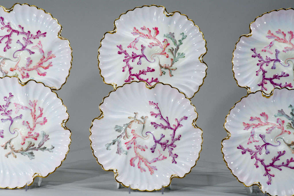 Set of Six Spode Oyster Plates, Pink, Lavender & Gold-Made for Tiffany's For Sale 1