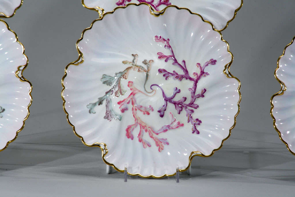 Set of Six Spode Oyster Plates, Pink, Lavender & Gold-Made for Tiffany's For Sale 2