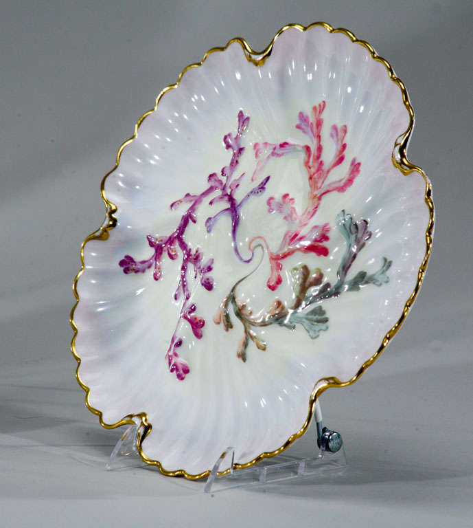 Set of Six Spode Oyster Plates, Pink, Lavender & Gold-Made for Tiffany's For Sale 3