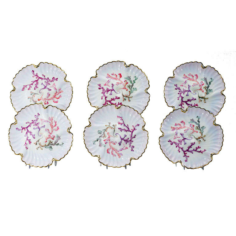 Set of Six Spode Oyster Plates, Pink, Lavender & Gold-Made for Tiffany's