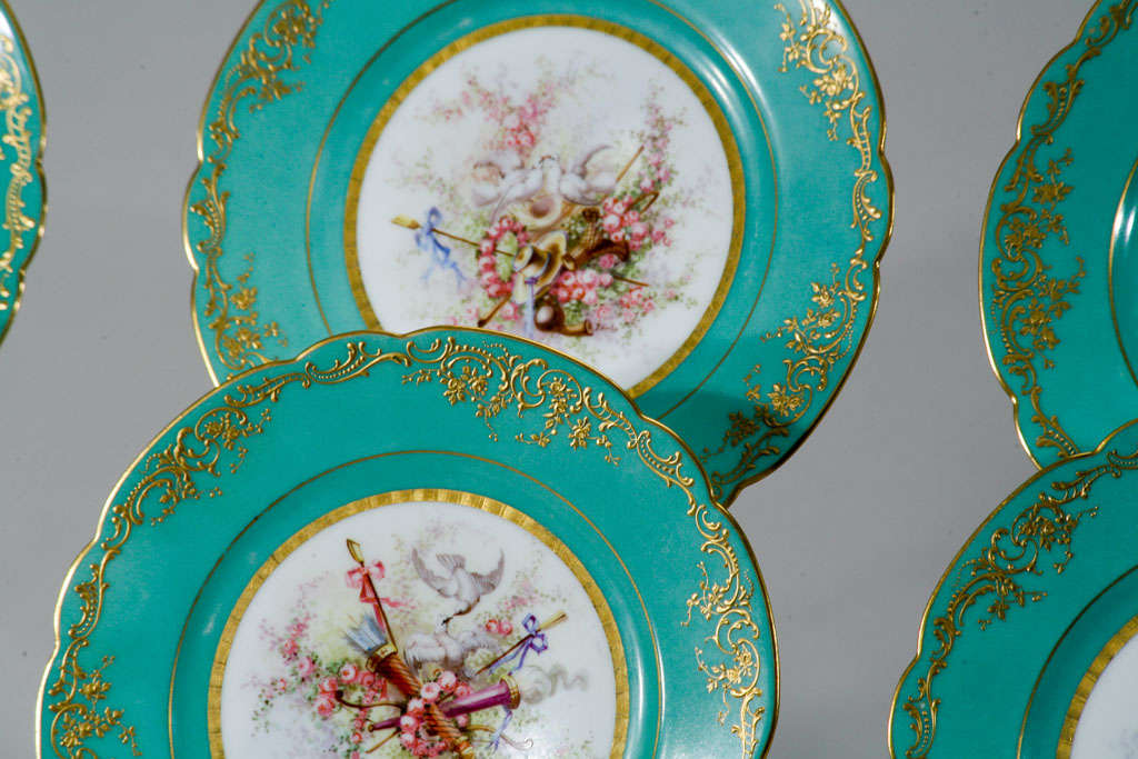 A magnificent set of 6 19th century Sevres plates with hand painted