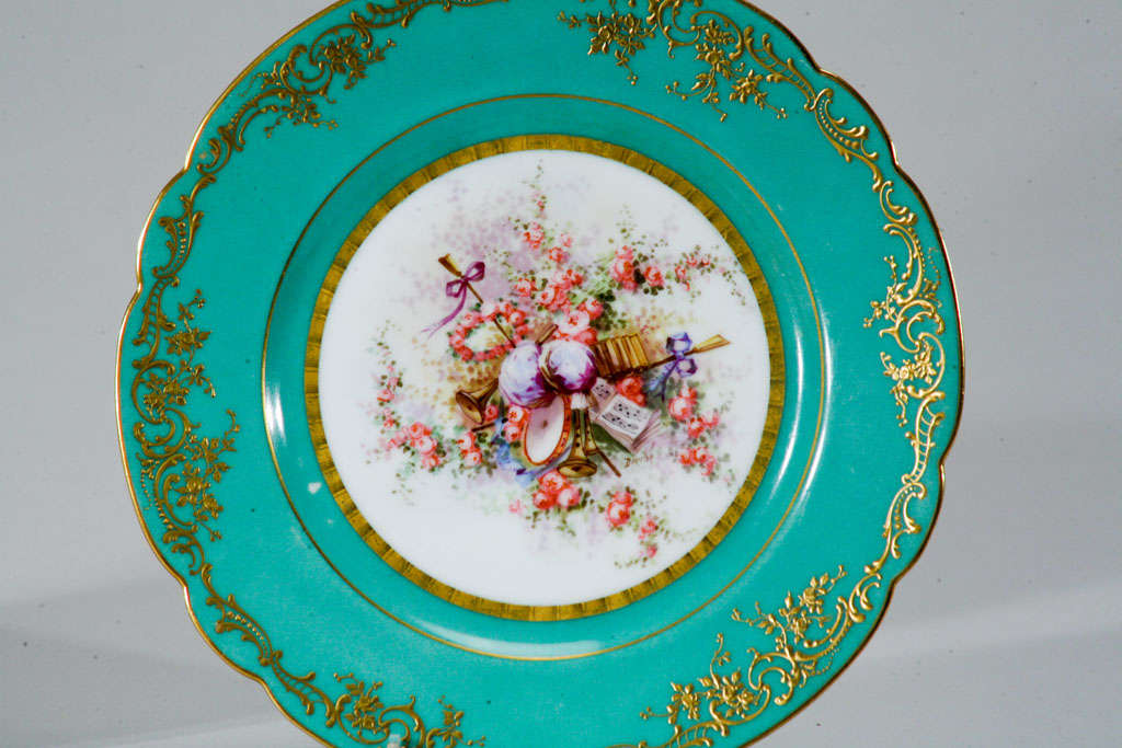 French Sevres Hand Painted Cabinet Plates, Artist Signed For Sale