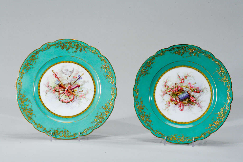 Sevres Hand Painted Cabinet Plates, Artist Signed In Excellent Condition For Sale In Great Barrington, MA