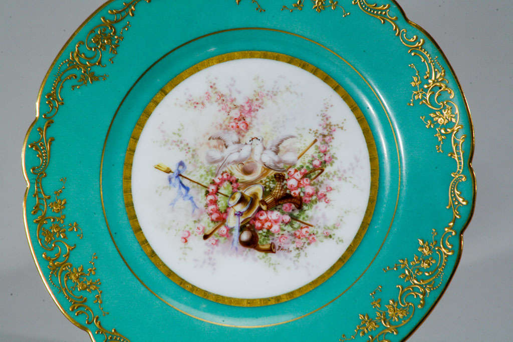 Sevres Hand Painted Cabinet Plates, Artist Signed For Sale 1