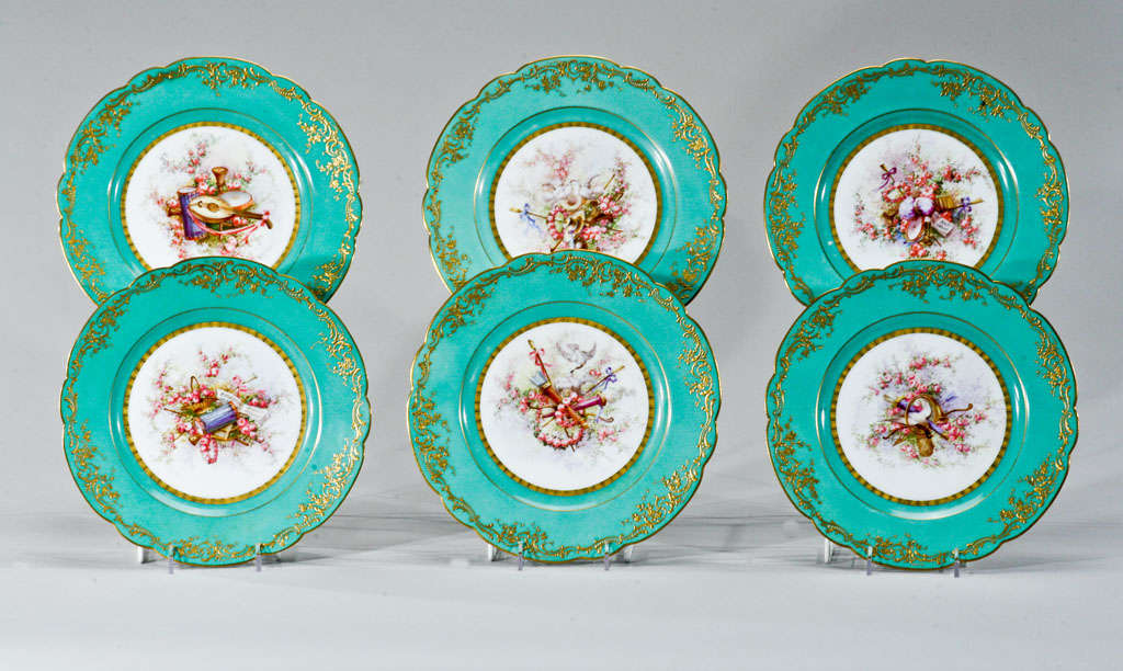 Sevres Hand Painted Cabinet Plates, Artist Signed For Sale 4