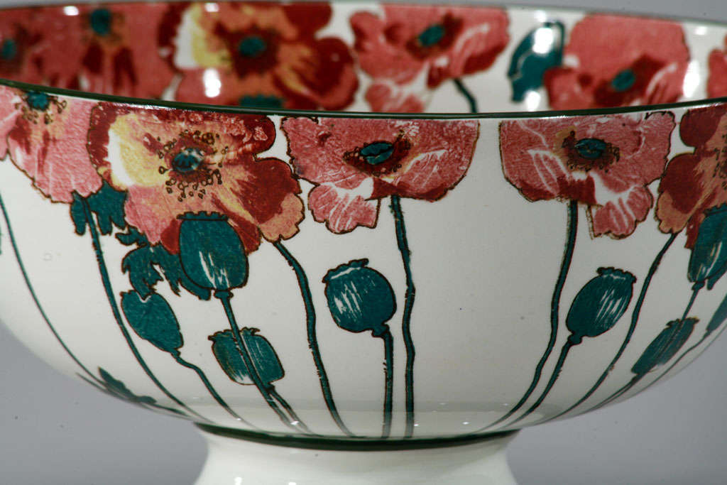 """Doulton Arts and Crafts """"Poppy"""" Large Footed Punchbowl 2"""