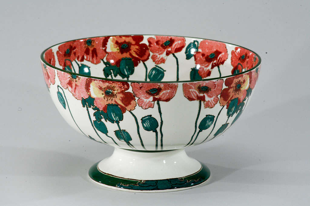"""Doulton Arts and Crafts """"Poppy"""" Large Footed Punchbowl 3"""