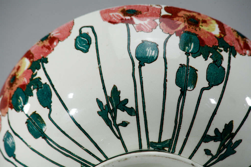 """Doulton Arts and Crafts """"Poppy"""" Large Footed Punchbowl 8"""