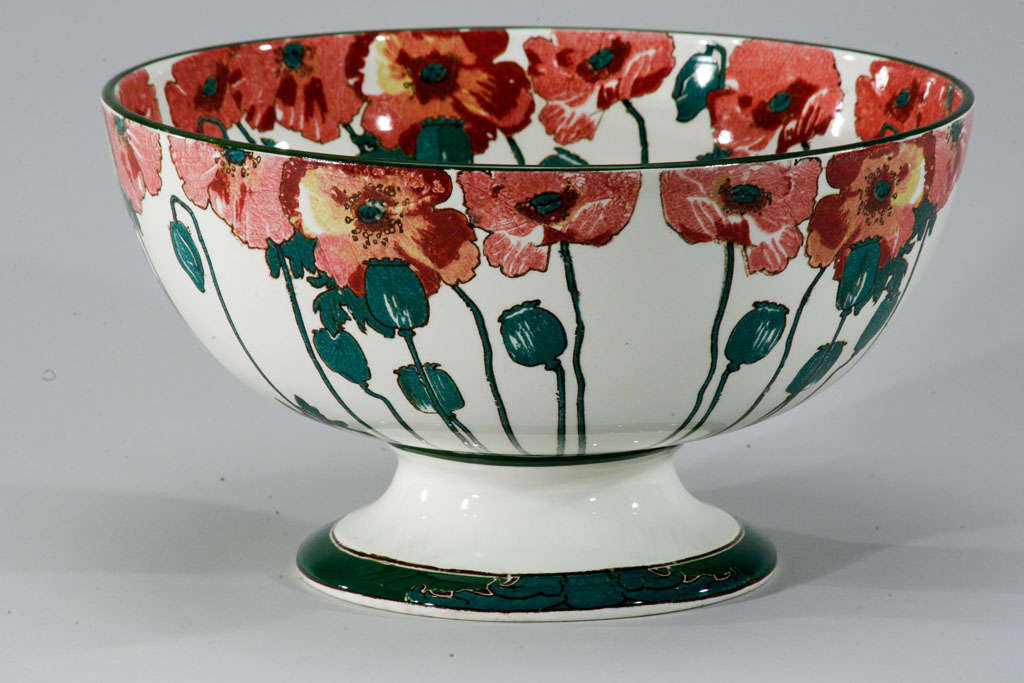 """Doulton Arts and Crafts """"Poppy"""" Large Footed Punchbowl 9"""