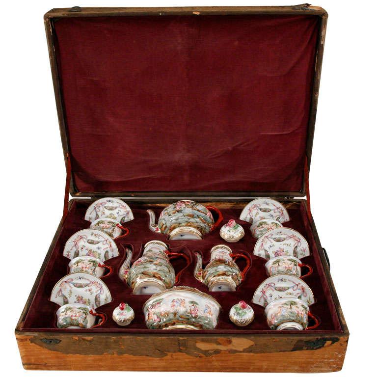 19th Century Naples/Capo di Monte Boxed Tea or Coffee Service