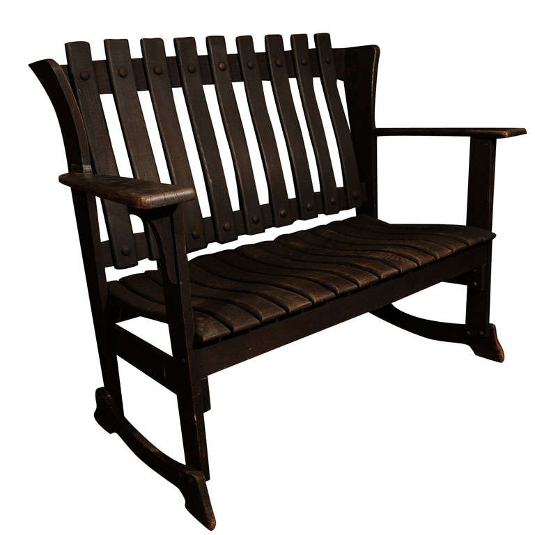 High Back Wood Bench At 1stdibs