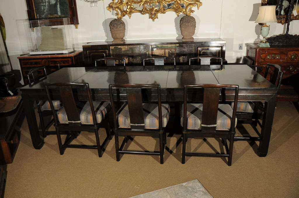 Chinese style dining table and eight chairs at 1stdibs for Asian style dining table and chairs