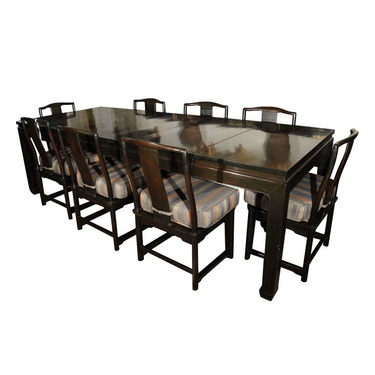 chinese style dining table and eight chairs