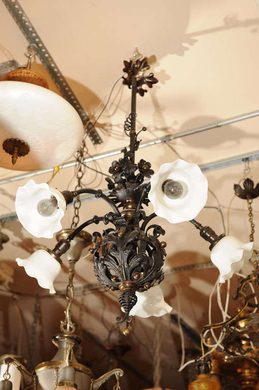 French Belle Epoque Wrought Iron Five-Arm Chandelier For Sale