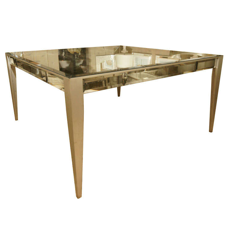 Custom Made Mirrored Dining Table with Silver Gilt Legs For Sale ...