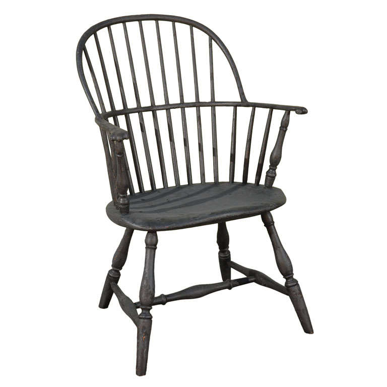 19thc early black knuckle arm windsor chair from n