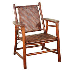 Signed Old Hickory Camp Chair In Original Old Surface & Caning