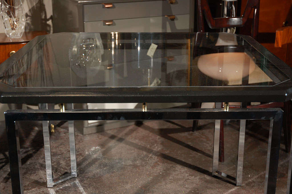 modernist chrome and black lacquer dining game table at