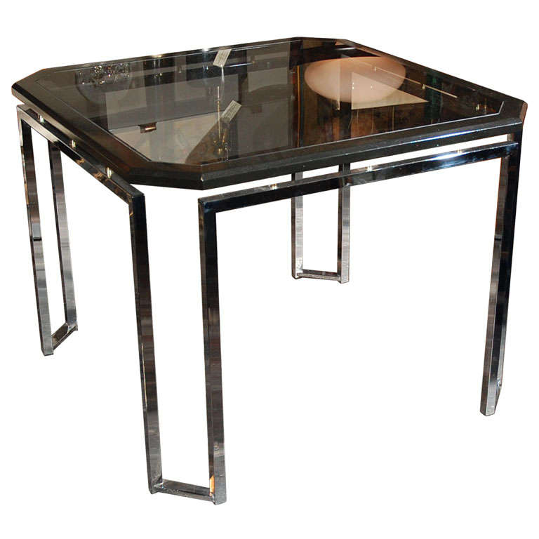 Modernist Chrome And Black Lacquer Dining Game Table At 1stdibs