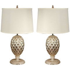 Pair of York White Gold Leafed Lamps by Bryan Cox