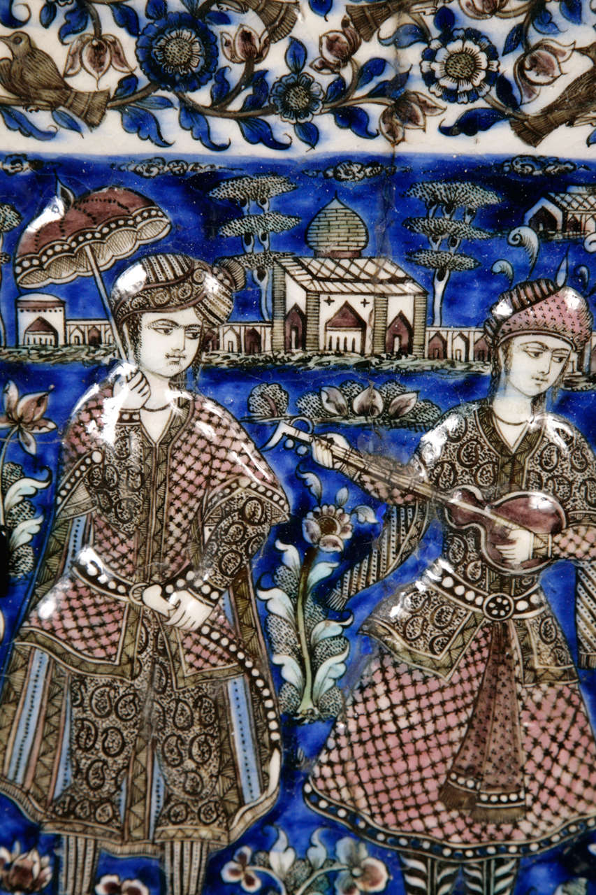 Persian Qajar Tile 19th Century In Fair Condition In London, GB