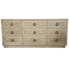 Mid-Century Faux Painted Long Chest Of 9 Drawers