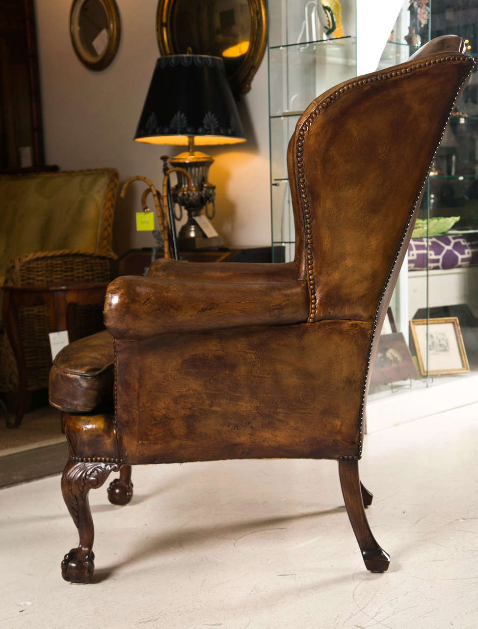 Late 19th C Leather Wingback Chair with Ball and Claw Feet 5
