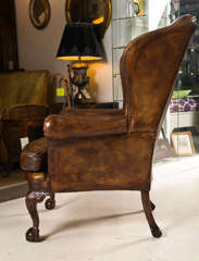 Late 19th C Leather Wingback Chair with Ball and Claw Feet image 5