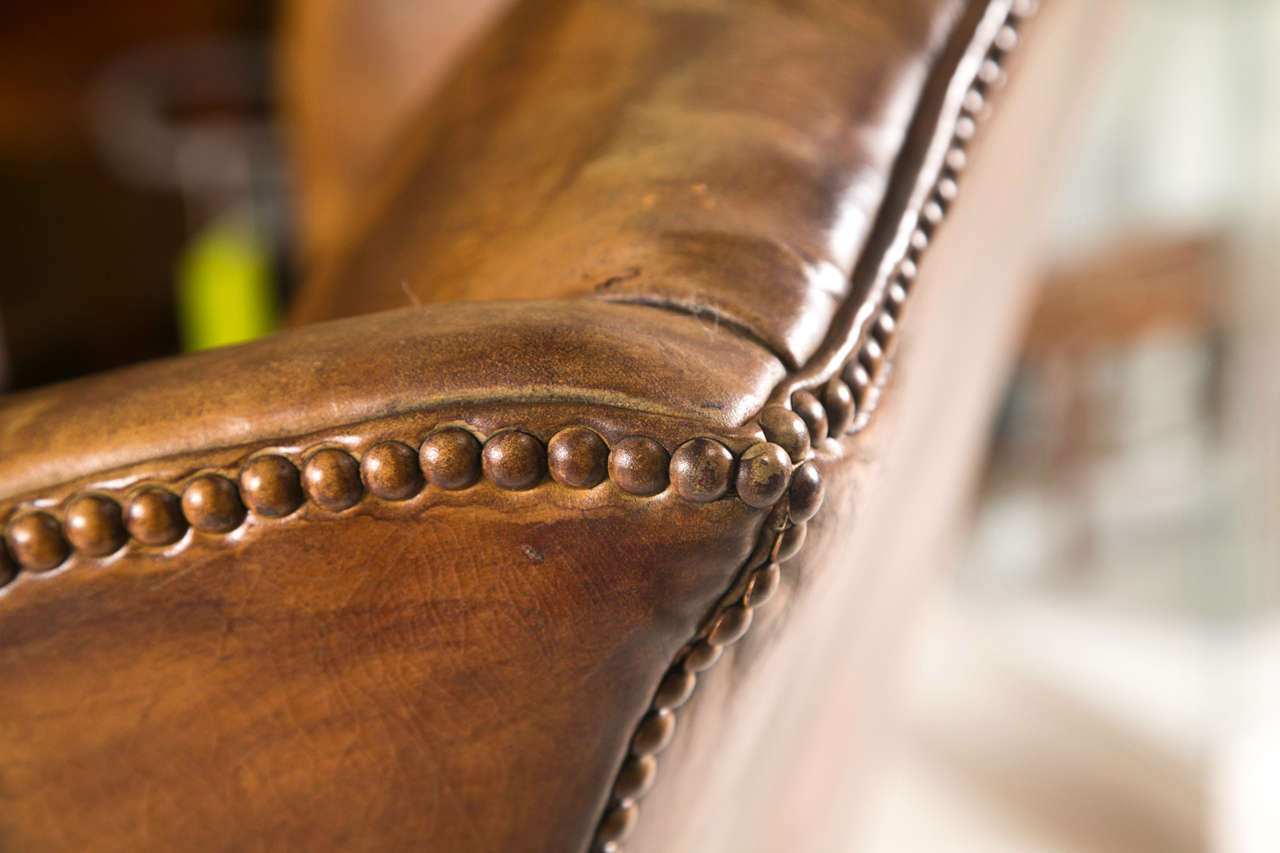 Late 19th C Leather Wingback Chair with Ball and Claw Feet 6