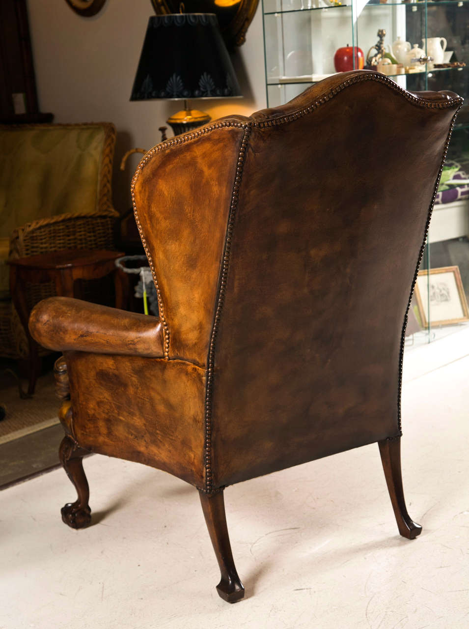 Late 19th C Leather Wingback Chair with Ball and Claw Feet 7