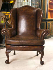 Late 19th C Leather Wingback Chair with Ball and Claw Feet image 2