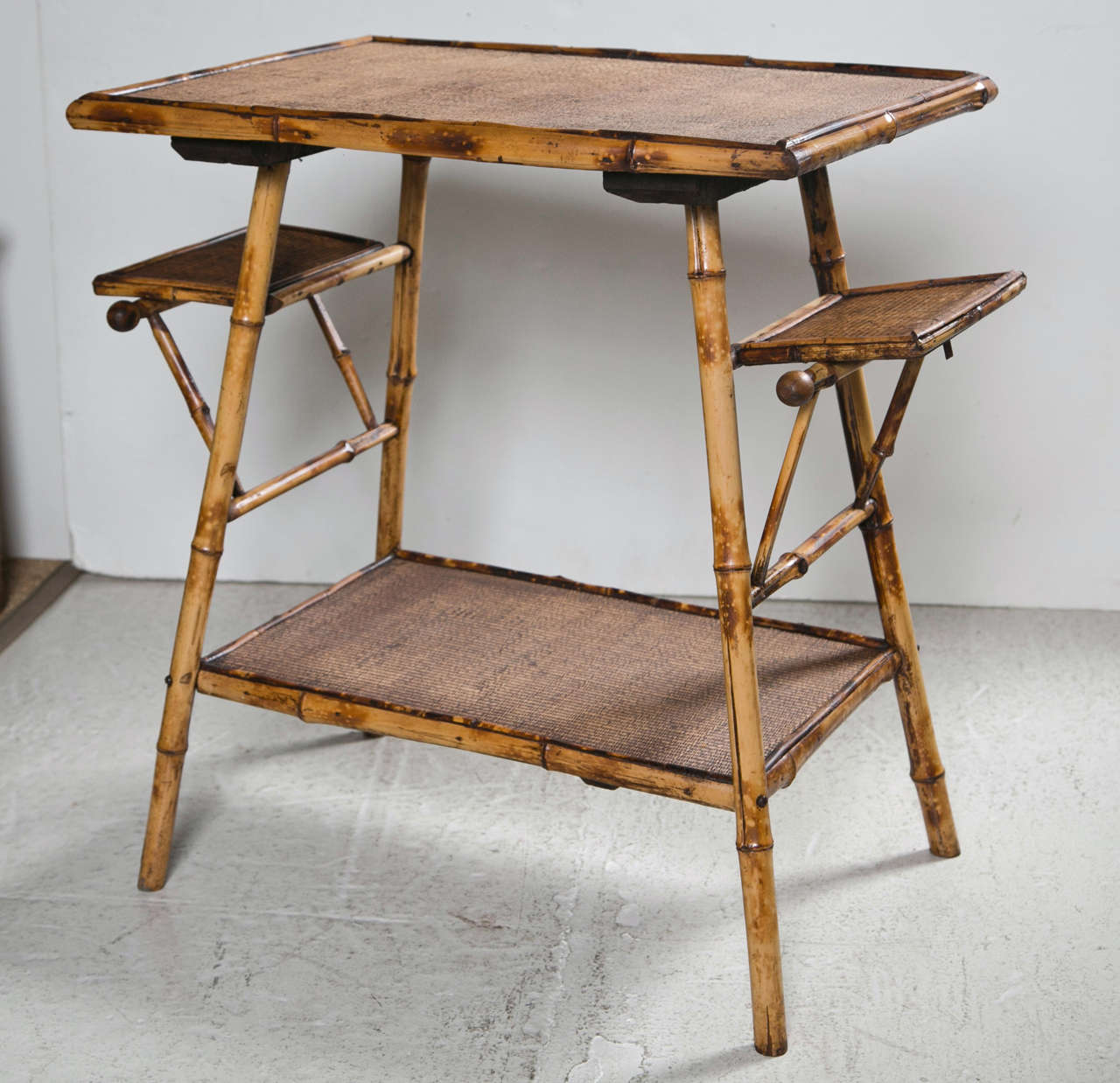 Victorian Bamboo Table With Folding Side Flaps And Original Grass Cloth  Surfaces